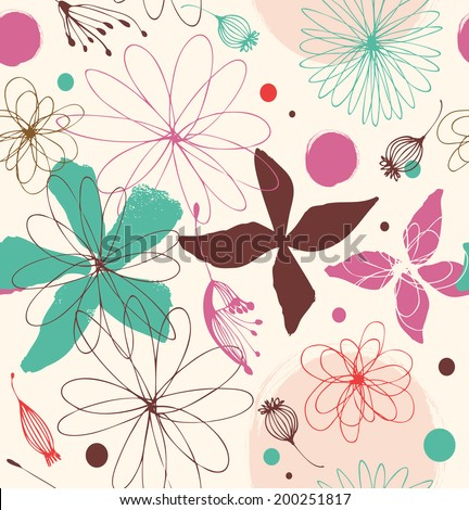 Seamless romantic pattern with drawn flowers. Cute background. Beauty decorative lace pattern - stock vector