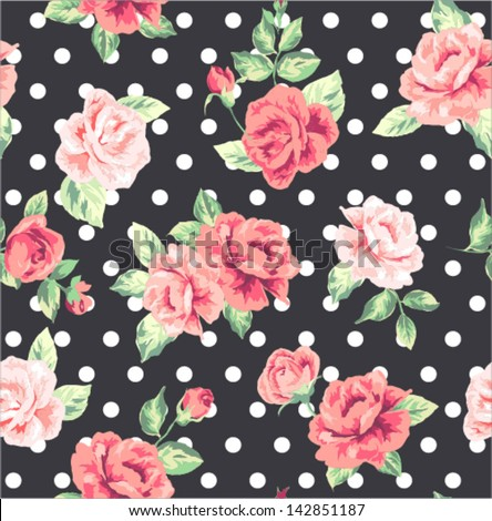 seamless romanticflower ,spring floral with dots vector pattern background - stock vector