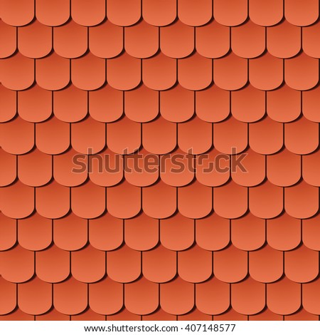 seamless roof tiles, global colors used - stock vector