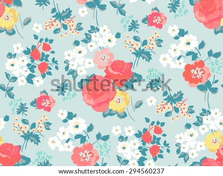 Seamless Rose and Flower Pattern in Vector - stock vector
