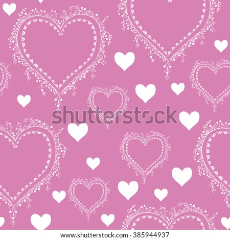 seamless rose background with white tracery ornate hearts   - stock vector