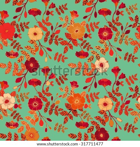 Seamless rose pattern - stock vector