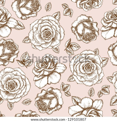 Seamless rose sketch pattern. Shabby chic flower background for you scrapbooking . - stock vector