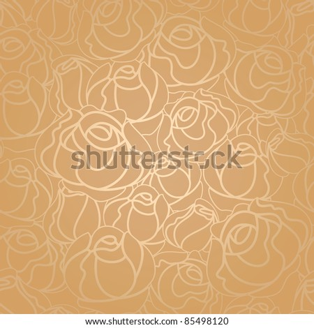 Seamless roses pattern, gold - stock vector