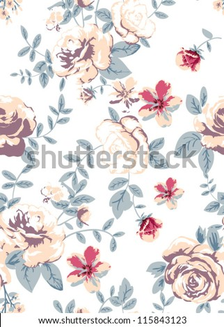 seamless roses pattern,nice flowers,tropical flowers,high summer - stock vector