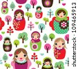 Seamless russian matryoshka doll kids background pattern in vector - stock vector