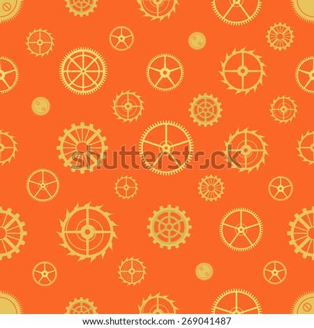 Seamless rusty cogwheel pattern. Factory background - stock vector