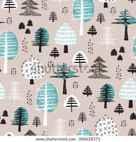 Seamless scandinavian style illustration forest tree christmas theme background pastel powder blue pattern in vector  - stock vector