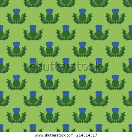 seamless scottish thistle pattern decoration, with clipping path - stock vector