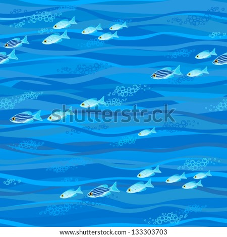 Seamless sea pattern with tropical fishes and bubbles - stock vector