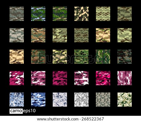 Seamless set of camouflage pattern vector: Forest, Desert, Jungle, Snow, Urban, Blue, Pink camo texture. Can be used for textile or print design. - stock vector