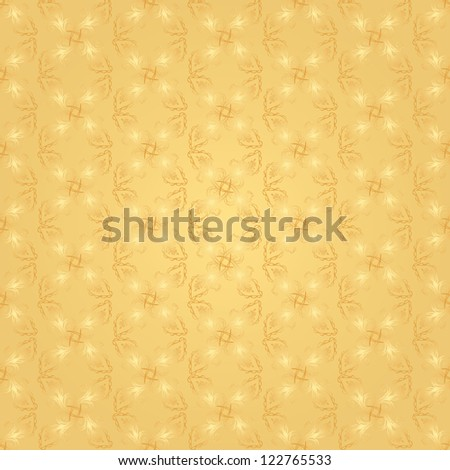 Seamless shiny golden wrapping paper pattern - stock vector