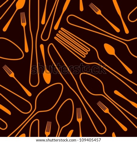 seamless silverware background - stock vector