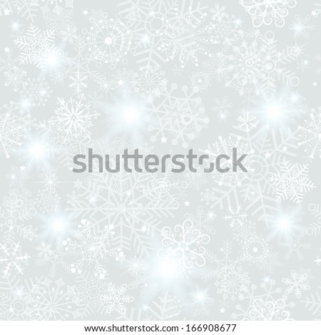 Seamless silvery christmas pattern with snowflakes and stars(vector eps 10) - stock vector