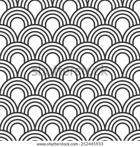 Seamless simple art deco wave scales pattern vector - stock vector