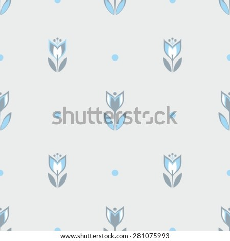 seamless simple flowers pattern - stock vector