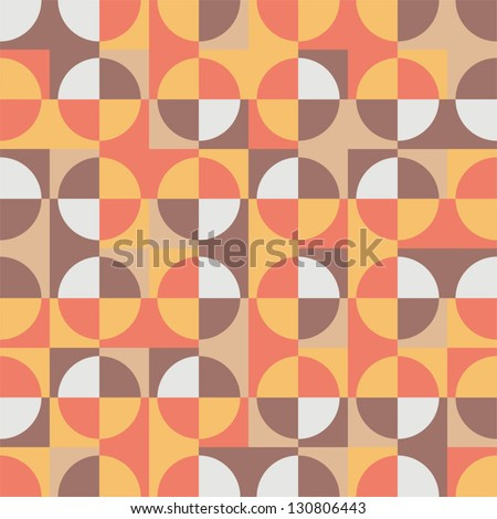 Seamless simple geometric pattern -  retro colored circles and squares. Vector illustration. - stock vector
