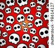 Seamless skull emo design texture - stock vector