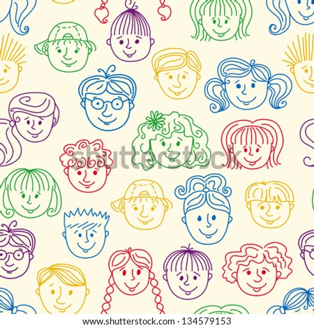 Seamless smiley children faces pattern. Doodle style background. - stock vector