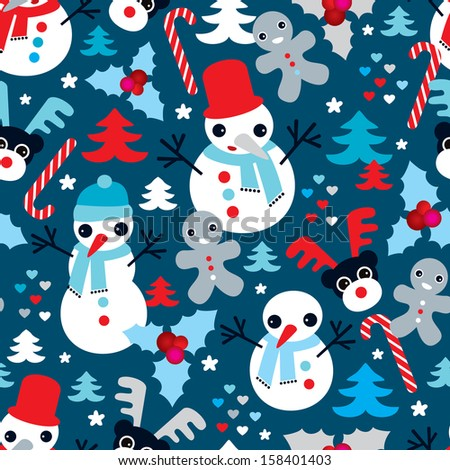 Seamless snow man ginger bread man and reindeer christmas illustration background pattern in vector - stock vector