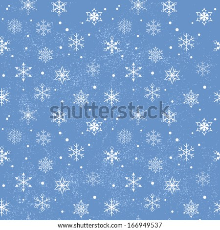 Seamless snowflake pattern with grunge dots  - stock vector