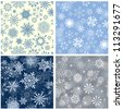 Seamless snowflakes background for winter and christmas theme. Vector illustration. - stock vector