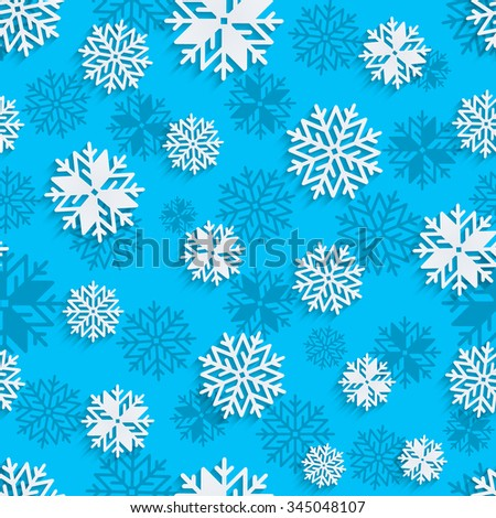 Seamless snowflakes background for winter, christmas theme and holiday cards. Applique background. Vector illustration. EPS10. - stock vector