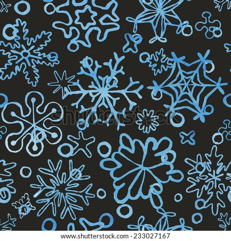 seamless snowflakes pattern with watercolor texture, for new year and christmas card and background, vector eps 8 - stock vector