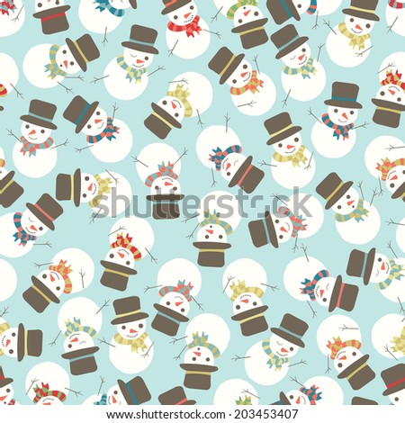 Seamless Snowman Party Holiday Vector Pattern - stock vector