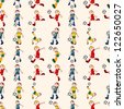 seamless soccer player pattern,cartoon vector illustration - stock vector