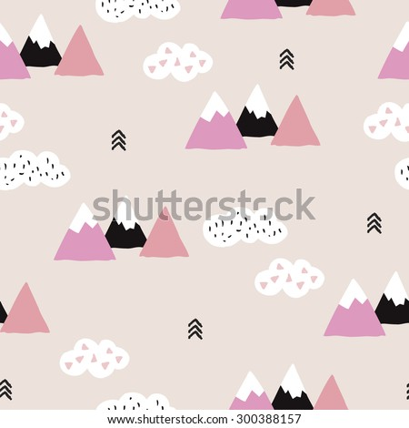 Seamless soft pink winter wonderland geometric japanese fuji mountain theme illustration triangle abstract landscape background pattern in vector - stock vector