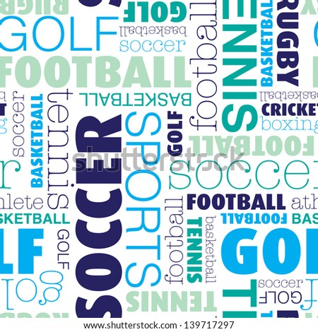Seamless sports soccer football typography background pattern in vector - stock vector