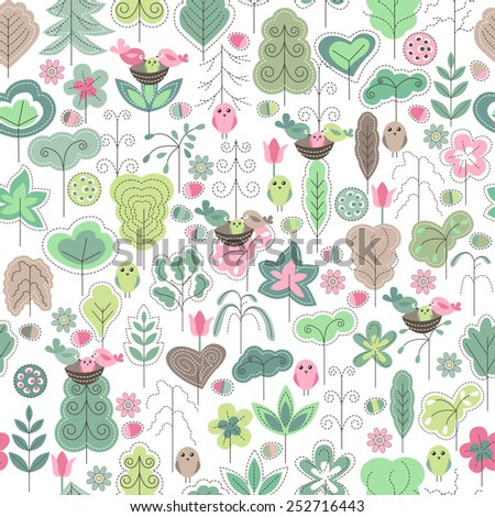 Seamless spring pattern with stylized trees - stock vector