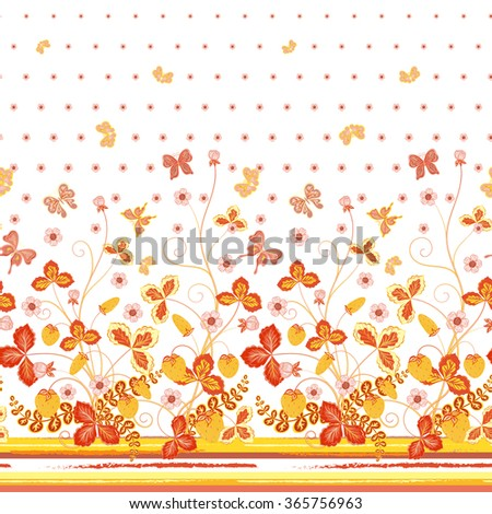 Seamless spring white floral pattern with orange strawberries and flowers and yellow butterflies/ Hand drawn texture for clothes, bedclothes, invitation, card design etc. - stock vector