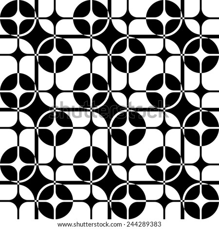 Seamless Square and Circle Pattern. Abstract Black and White Background. Vector Regular Texture - stock vector