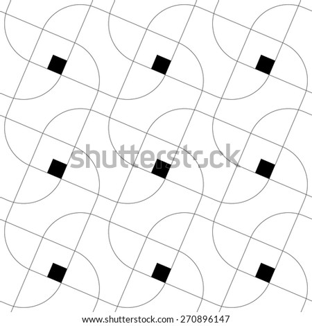 Seamless Square and Line Pattern. Abstract Monochrome Background. Vector Regular Texture - stock vector