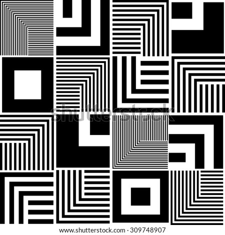 Seamless Square and Stripe Pattern. Abstract Monochrome Background. Vector Regular Texture - stock vector