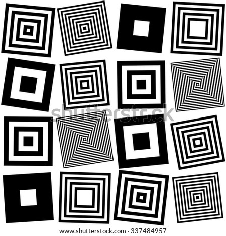 Seamless Square Pattern. Abstract Black and White Background. Vector Regular Texture - stock vector