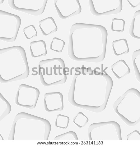 Seamless Square Pattern. Vector Soft Background. Regular White Texture - stock vector