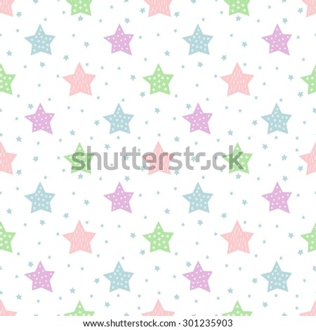 Seamless star pattern for kids holidays. Pastel colors baby shower vector background. Cute child drawing style star sky illustration.  - stock vector