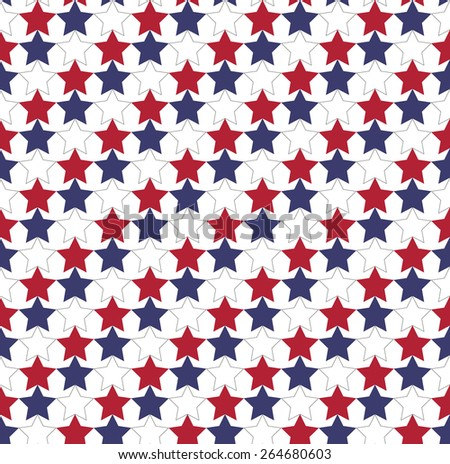 Seamless star pattern in official colors of USA flag - great pattern for use for Independence day - stock vector