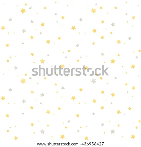 Seamless star pattern. Silver and golden stars on white background. Festive vector texture. - stock vector