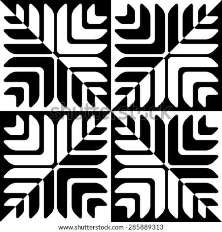 Seamless Star Pattern. Vector Black and White Background. Regular Texture - stock vector