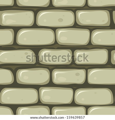 Seamless Stone Wall/ Illustration of a seamless cartoon old stone wallpaper background with bricks of rock - stock vector