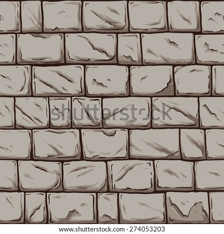 Seamless stone wall. Vector clip art illustration. All in a single layer. - stock vector