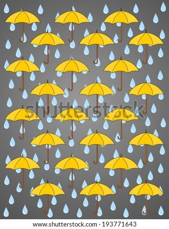 Seamless storm abstract background, various colorful umbrellas and blue rain drops on gray. Rainy season background sky with cloud and yellow umbrella. Vector art image illustration - stock vector