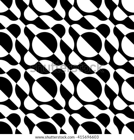 Seamless Stripe and Circle Pattern. Vector Black and White Background - stock vector