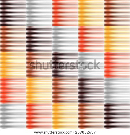 Seamless striped and checked pattern in warm colors. Hatched texture. Vector art. No gradient. - stock vector