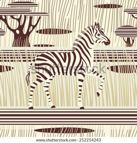 Seamless striped background. Zebra in african savannah. Vector illustration. - stock vector