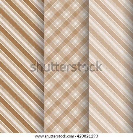 Seamless striped patterns. Set seamless patterns. Diagonal stripes patterns. Beige stripes patterns. Brown stripes patterns.  - stock vector